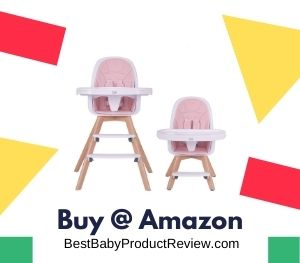 HAN-MM Baby High Chair with Removable Gray Tray, Upgreded Legs Pink Wooden High Chair, Adjustable Legs, Harness, Feeding Baby High Chairs for Baby